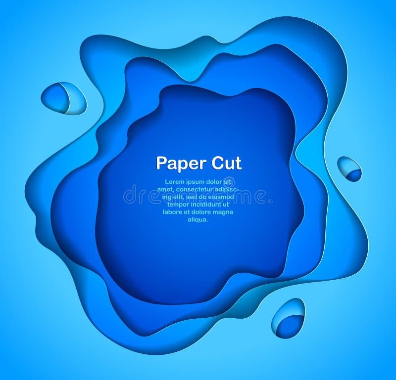 blåttbakgrund för abstrakt begrepp 3D med papperssnittet formar Vektor Illust stock illustrationer
