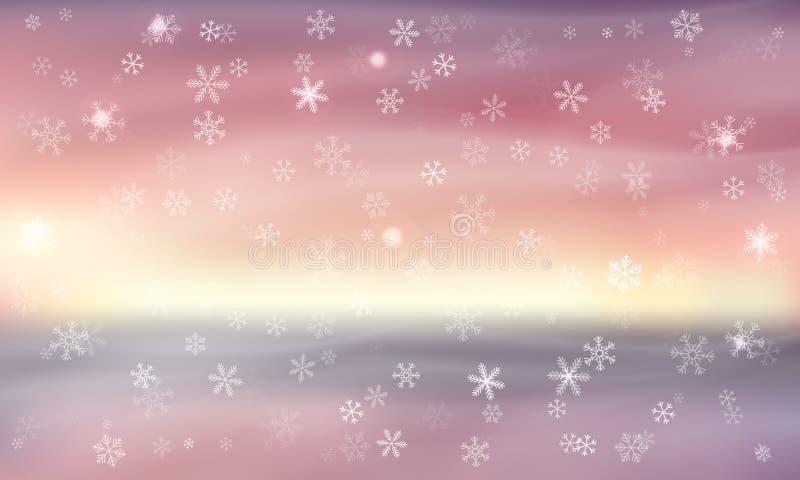 Blåttbakgrund med snowflakes också vektor för coreldrawillustration Suddigt naturligt landskap Vintermodell för baner, hälsning,  royaltyfri illustrationer