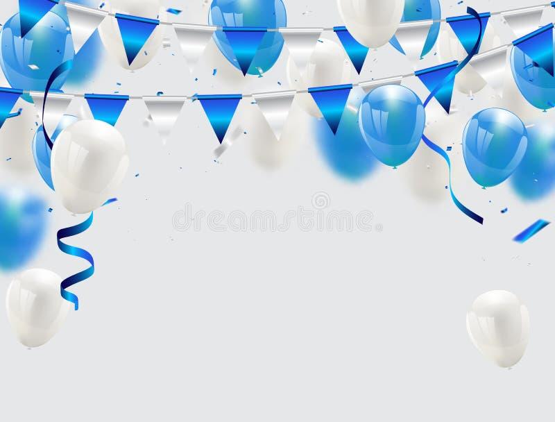 Blåttballonger, vektorillustration Konfettier och band, vektor illustrationer