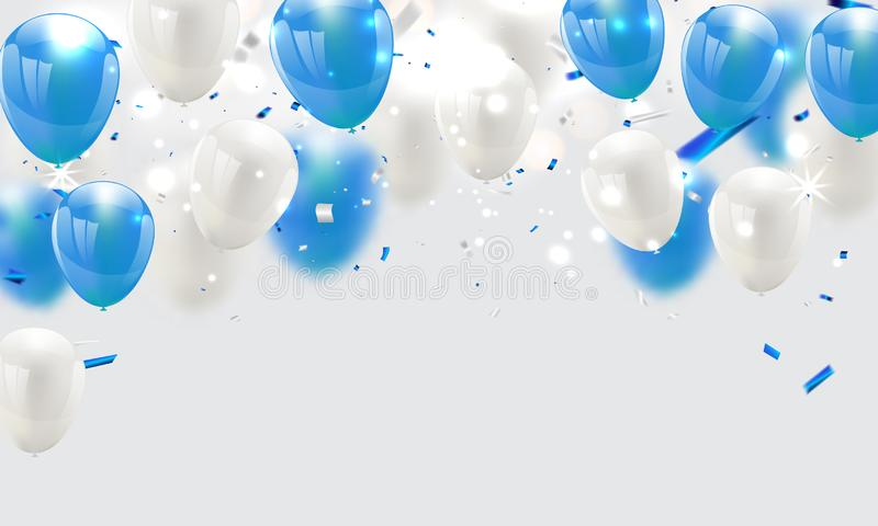 Blåttballonger, vektorillustration Konfettier och band, royaltyfri illustrationer