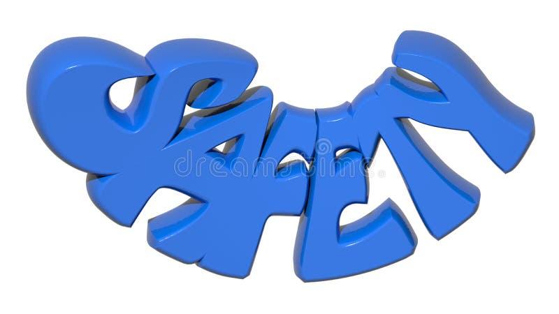 Blåttbokstäver för SÄKERHET 3D stock illustrationer