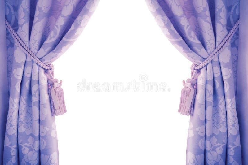 Blåttgardiner som isoleras på vit bakgrund royaltyfria bilder