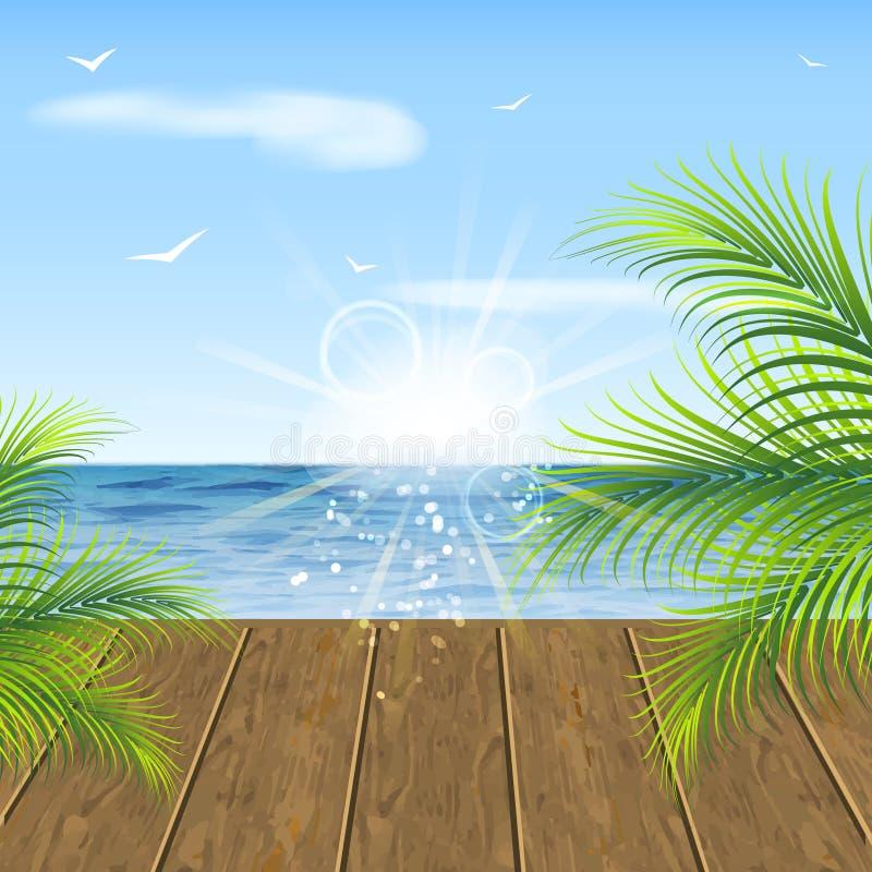 Blåtthav, Sky & moln Havssikt, trägolv och palmblad vektor illustrationer