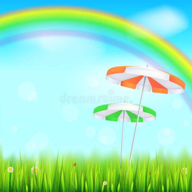 Blåtthav, Sky & moln Ovannämnt grönt fält för stor ljus regnbåge Saftigt gräs, tusensköna blommar, nyckelpigor i gräs på bakgrund vektor illustrationer