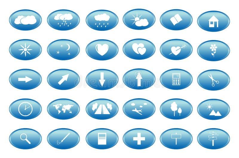 Blåttknappar med vita symboler royaltyfri illustrationer