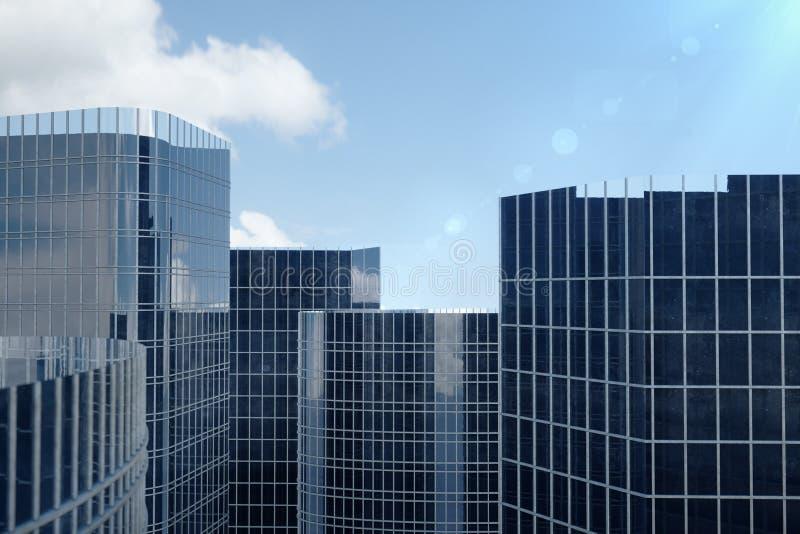 blåttskyskrapor för illustration 3D från en sikt för låg vinkel Glass höga byggnader för arkitektur Blåa skyskrapor i en finans royaltyfri foto
