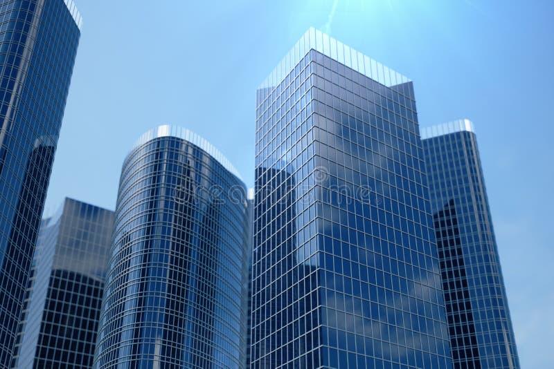 blåttskyskrapor för illustration 3D från en sikt för låg vinkel Glass höga byggnader för arkitektur Blåa skyskrapor i en finans arkivfoton