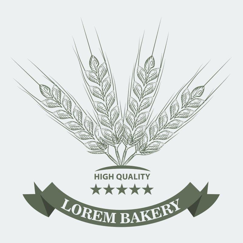 Blé, étoiles et ruban avec croquis style de schéma pour le concept de boulangerie Illustration de vecteur illustration stock