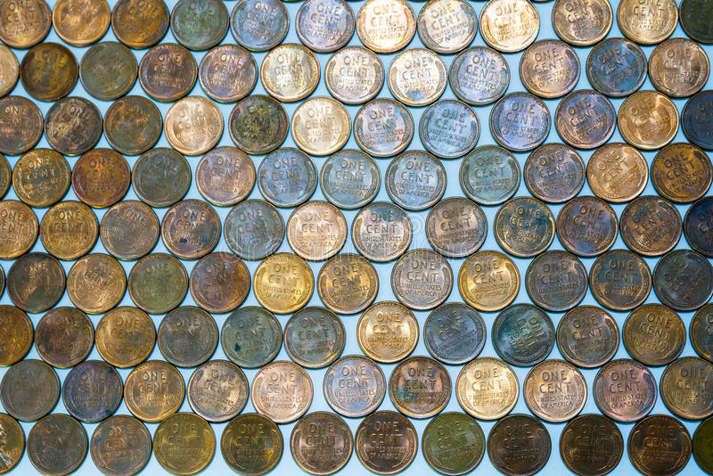 Blé-De retour Lincoln Penny Cents aka Wheaties d'Uncirculated Etats-Unis images stock