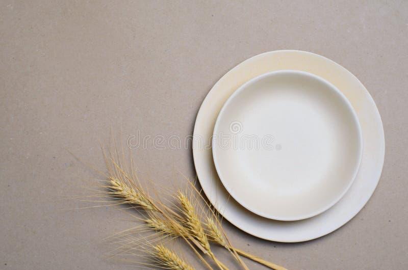 Blé Straw Kitchenware, plats de réutilisation écologiques images stock