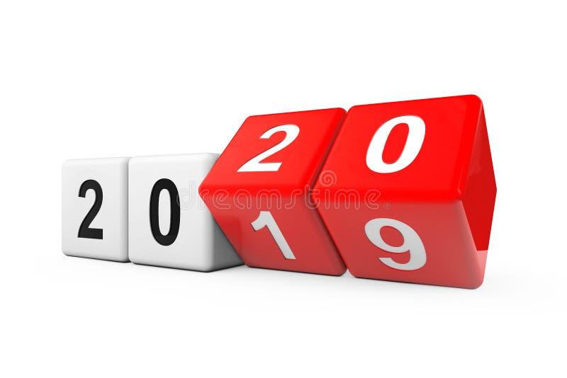 Blöcke mit dem Übergang von 2019 bis 2020 3d Rendering vektor abbildung