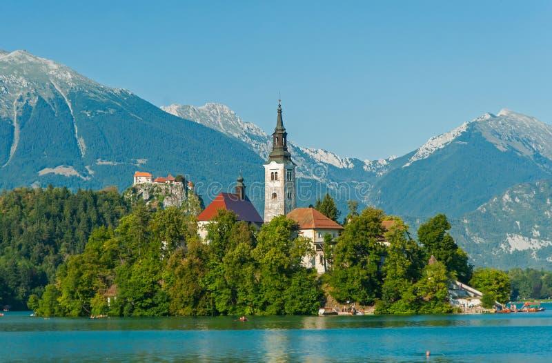 Blödd Lake, Slovenien royaltyfria foton