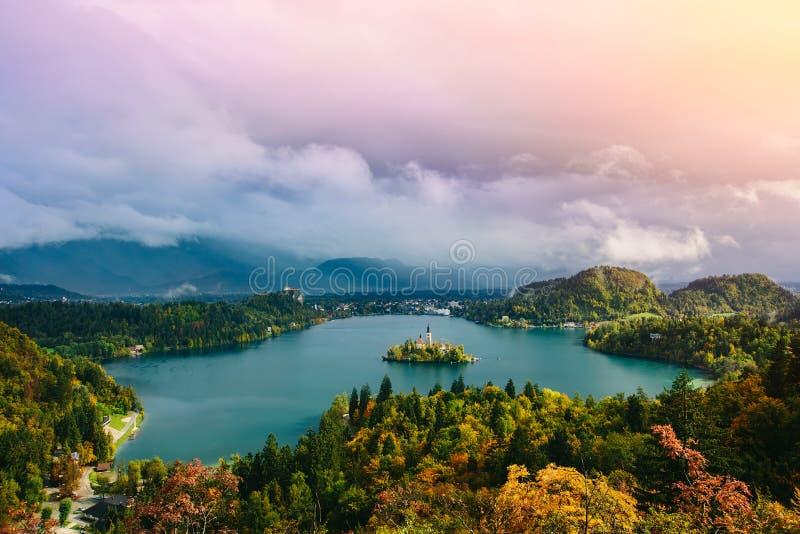 Blödde den flyg- panoramautsikten för hisnande lång exponering av sjön, Slovenien, Europa (Osojnica) arkivbilder