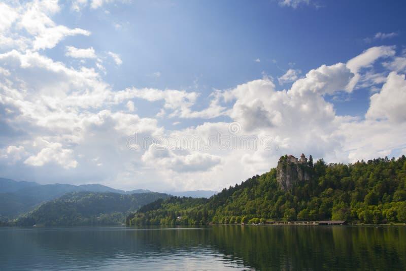 Blödde Lake och slott royaltyfria foton