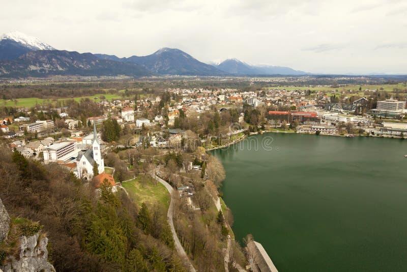 Blödde Slovenien - - flyg- sikt av Bled semesterorten, bosättningen och lak fotografering för bildbyråer