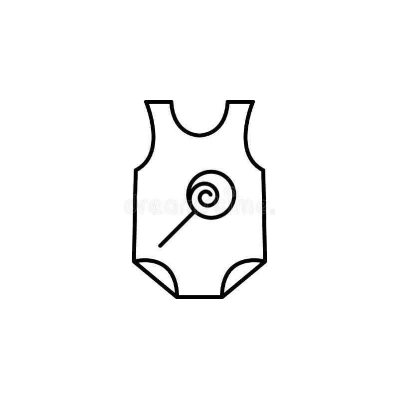 Blöjasymbol Beståndsdel av klädersymbolen för mobila begrepps- och rengöringsdukapps Den tunna linjen blöjasymbol kan användas fö royaltyfri illustrationer