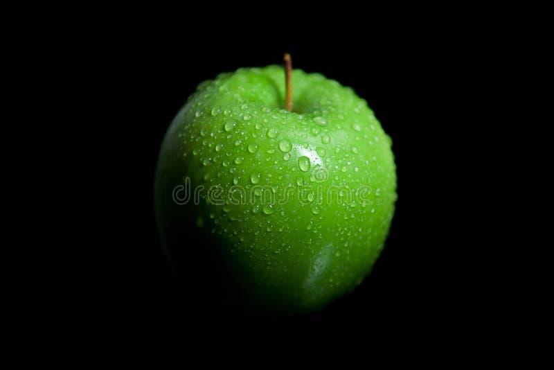 Blöta det gröna äpplet för farmorsmeden med svart bakgrund royaltyfri foto