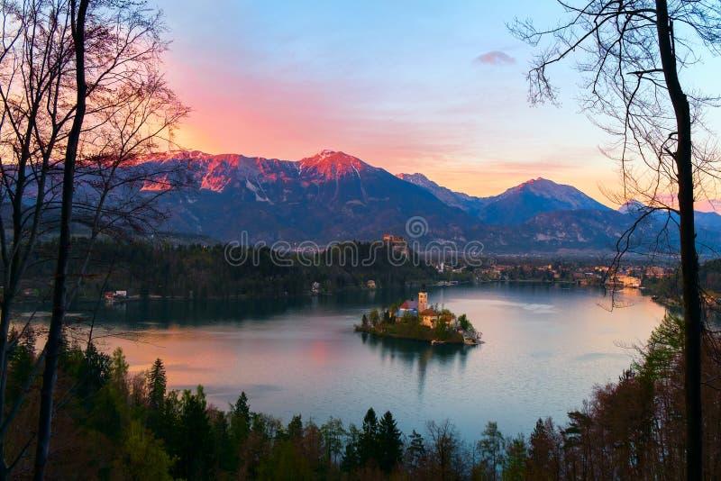 Blött med sjön, ön och berg i bakgrund royaltyfri fotografi