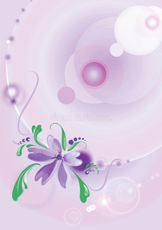 Blühen Sie auf einem lila Hintergrund lizenzfreie abbildung
