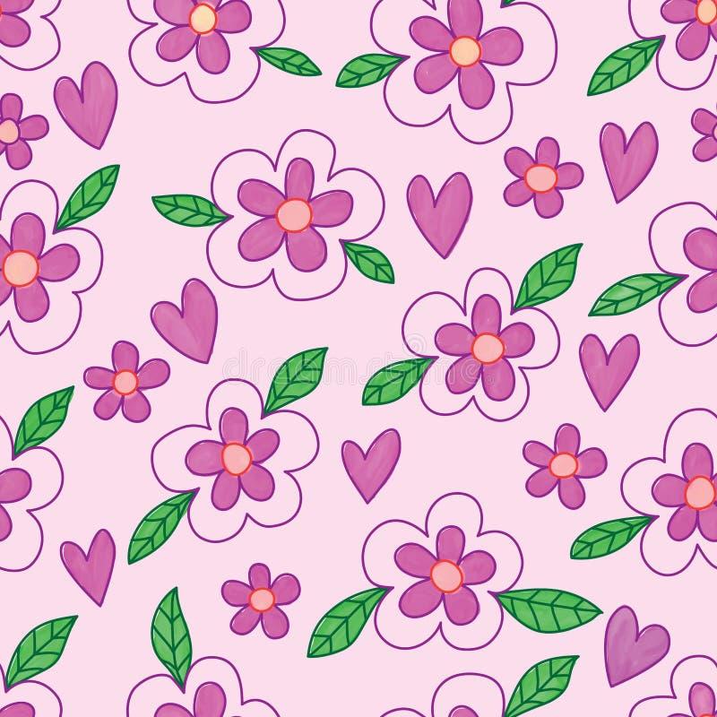 Blühen Sie des purpurroten nahtloses Muster Liebes-Aquarells des Blattbatiks lizenzfreie abbildung