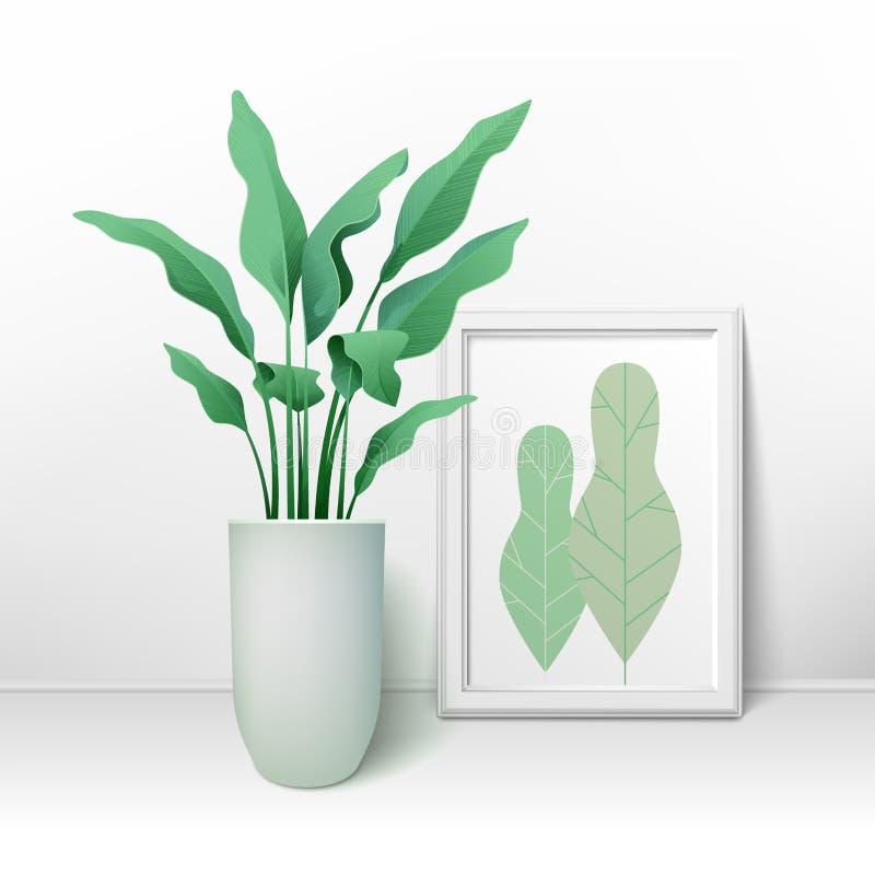 Blühen Sie in einem Topf und in einem großen Rahmen für Bilder stock abbildung