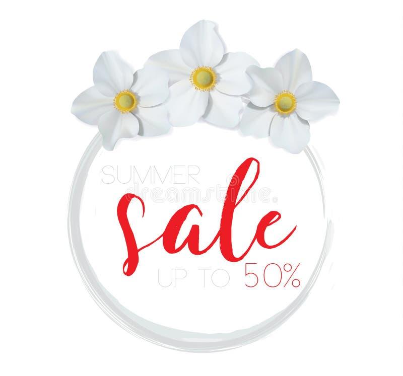 Blühen Sie Fahne mit Textsommerschlussverkauf auf weißem Hintergrund mit schönen Blumen Künstlerische Designvektorfahnen, grüßend vektor abbildung