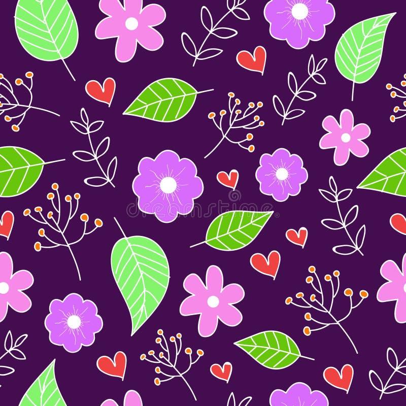 Blühen Sie Feder, die nahtloses purpurrotes Muster für Fliesen und Gewebe tapezieren lizenzfreie abbildung