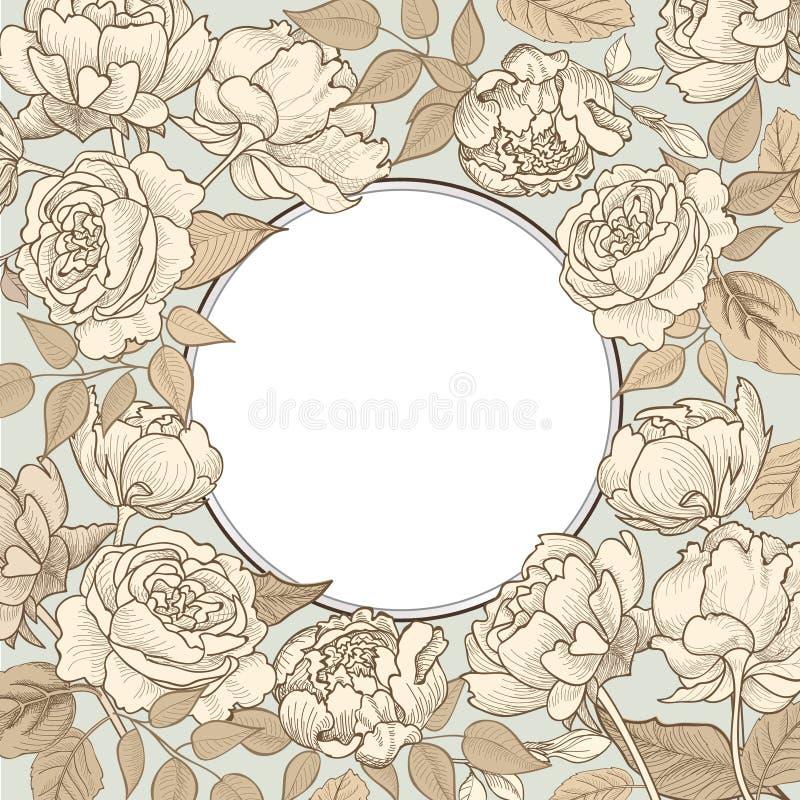Blühen Sie Feld Blumenweinlesegrenze Flourish Victorianart vektor abbildung
