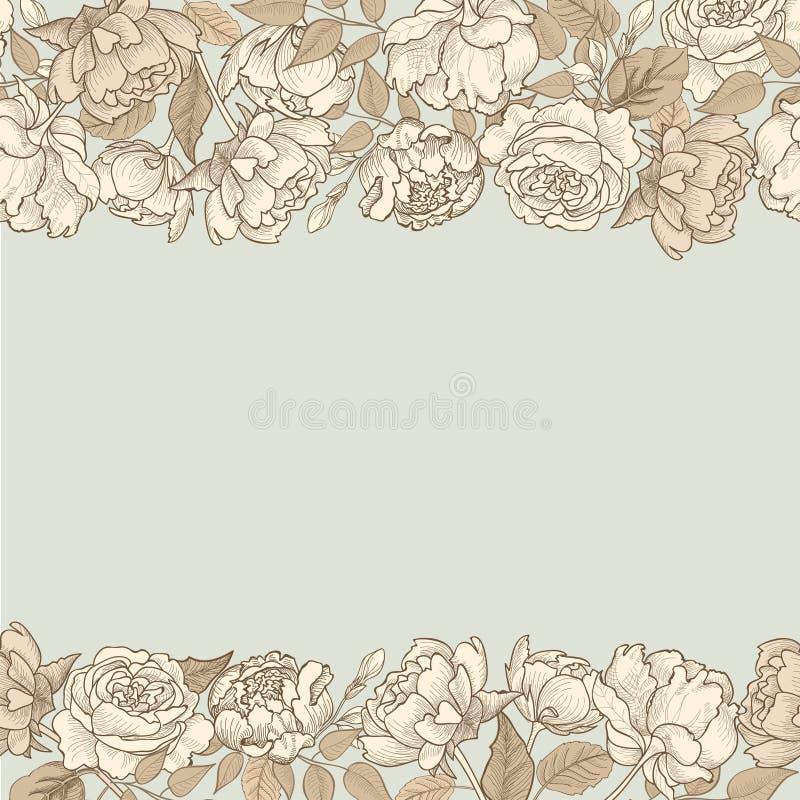 Blühen Sie Feld Nahtloser mit Blumenrand Weinlese Flourish gemasert stock abbildung