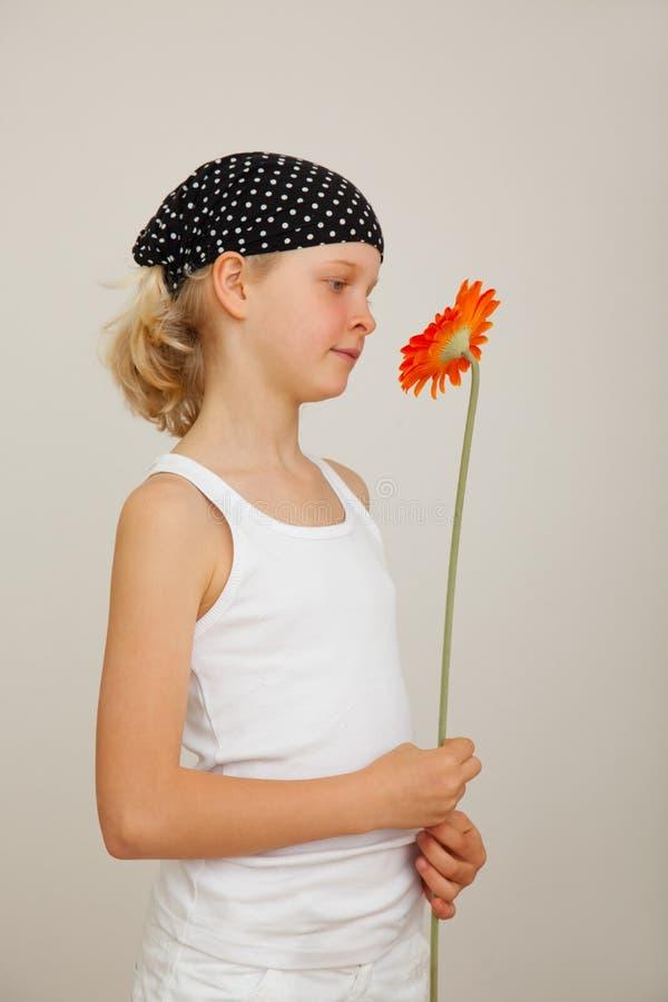 Blühen Sie, Mädchen schauend stockfotos