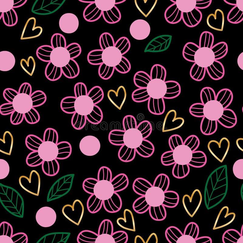 Blühen Sie nahtloses Muster der rosa Blattgrünliebesgoldart lizenzfreie abbildung