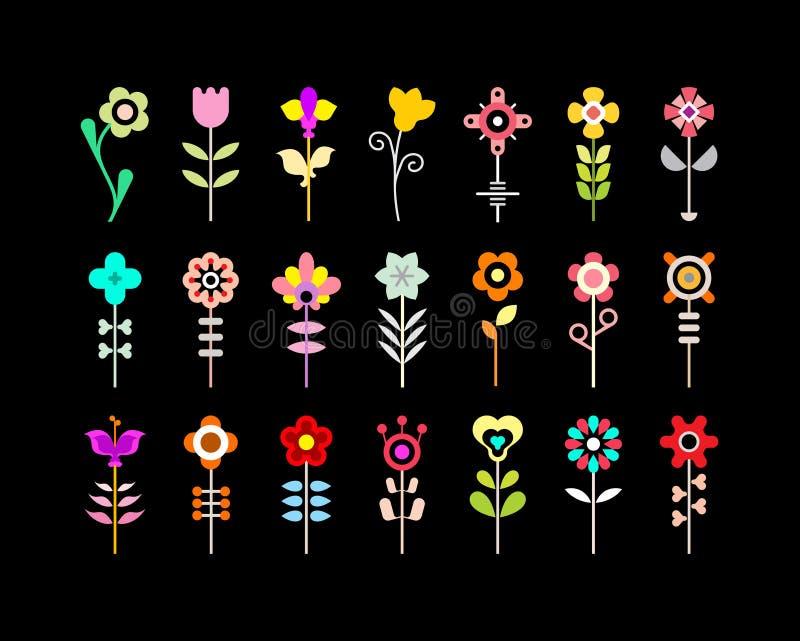 Blühen Sie vektorikonenset stock abbildung