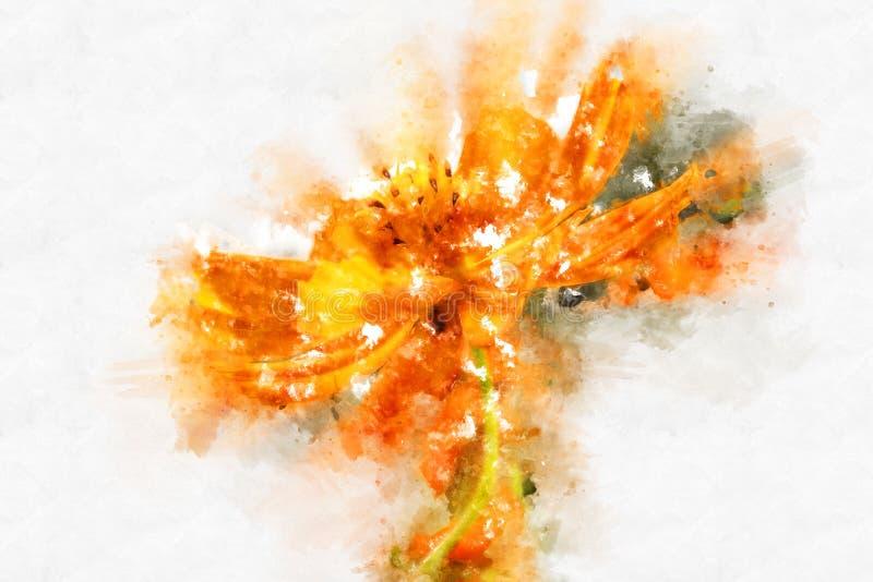 Blühende Aquarellfarbe der abstrakten gelben Formblume stock abbildung