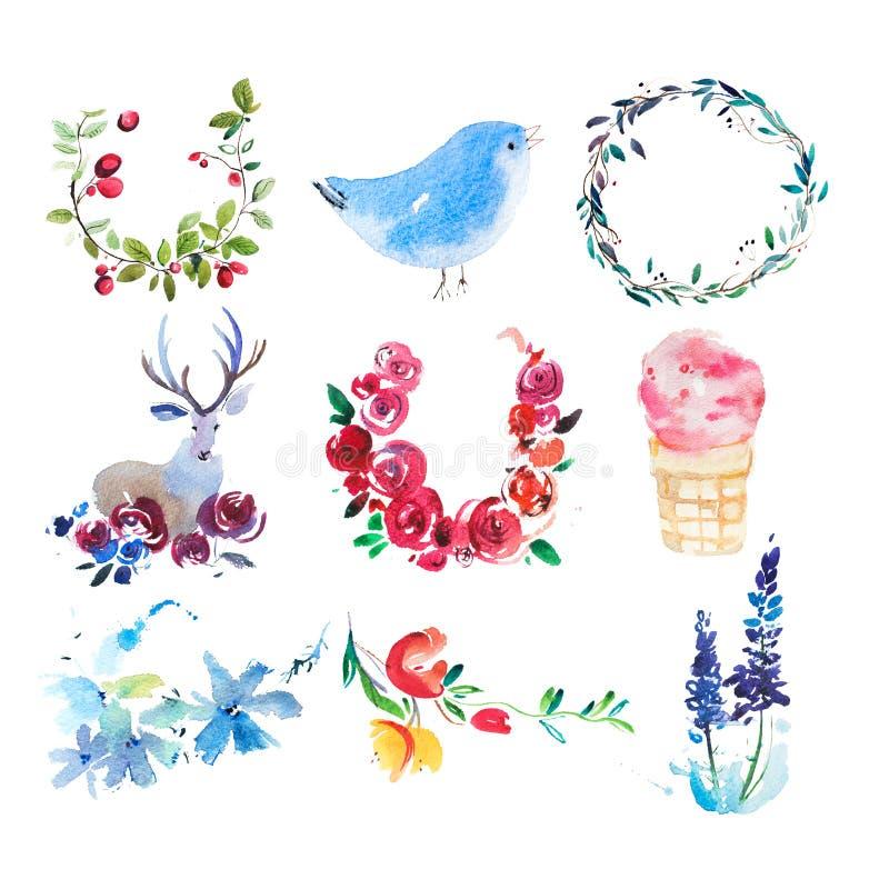 Blühende Bäume auf den Querneigungen des Wicklungflusses Blumen-, Kranz- und Blattaquarellmalerei lizenzfreie abbildung