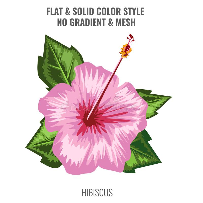Blühende Blume des Hibiscus mit gezogener Art des Aquarells oder der Hand Design des flachen und Normallacks Auch im corel abgeho lizenzfreie abbildung