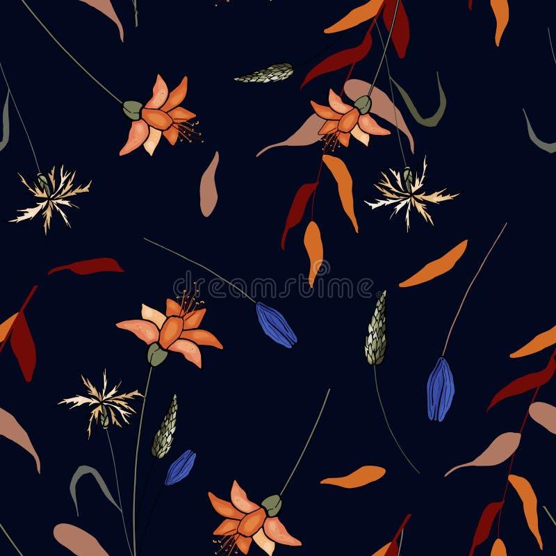 Blühende Blumen Realistisches lokalisiertes nahtloses Blumenmuster Geometrische Verzierung auf einem alten Papier tapete Hand gez vektor abbildung