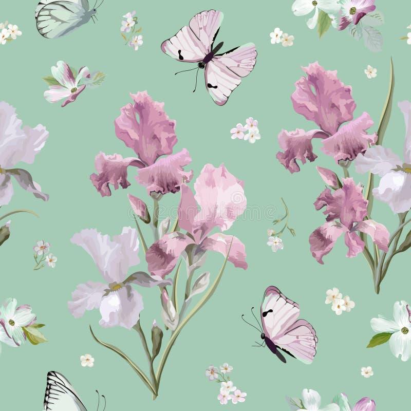 Blühende Frühlings-bunte Blumen kopieren Hintergrund Nahtloser Mode-Druck lizenzfreie abbildung