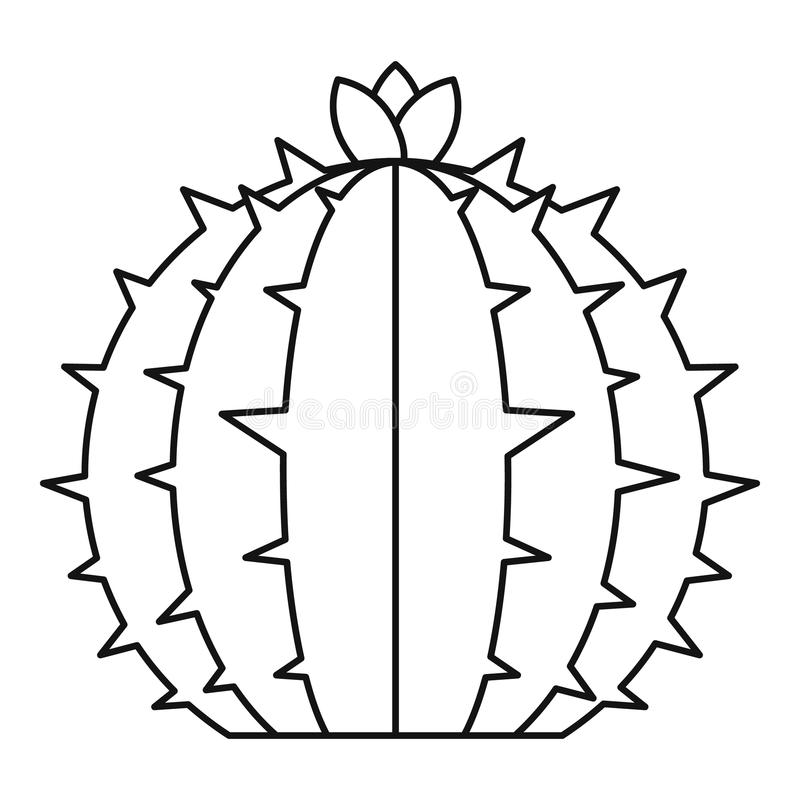 Blühende Kaktusikone, Entwurfsart lizenzfreie abbildung