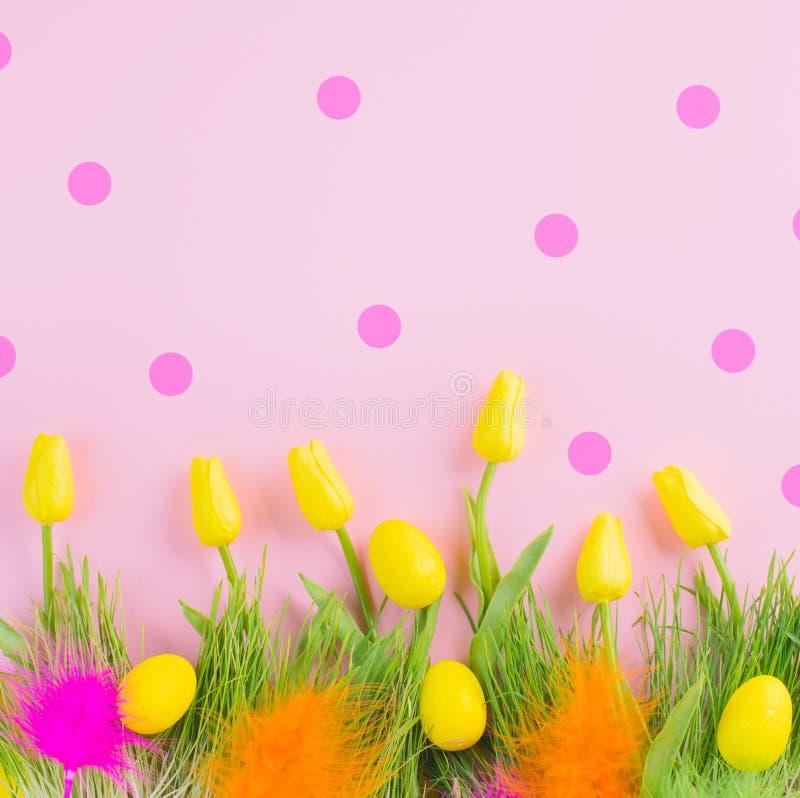 Blühende Tulpenblumen schönen Frühlinges Ostern hellen klaren, bunte Eier, frisches Gras und bunte Federn über rosa Tupfen stockfotos