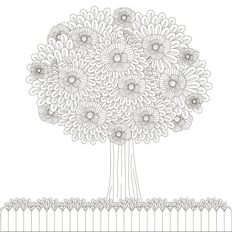 Blühender Baum, Zaun für Malbuch stock abbildung