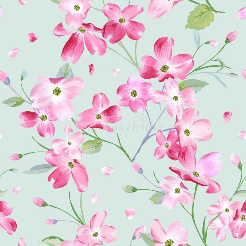 Blühender Frühlings-Blumen-Muster-Hintergrund Nahtloser Mode-Druck lizenzfreie abbildung