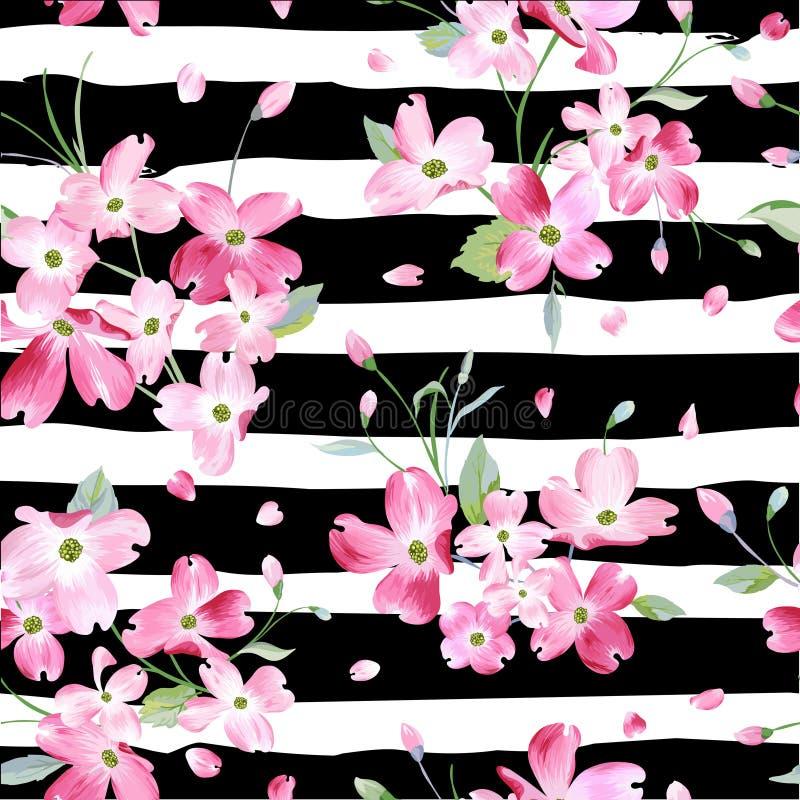 Blühender Frühlings-Blumen-Muster-Hintergrund Nahtloser Mode-Druck vektor abbildung