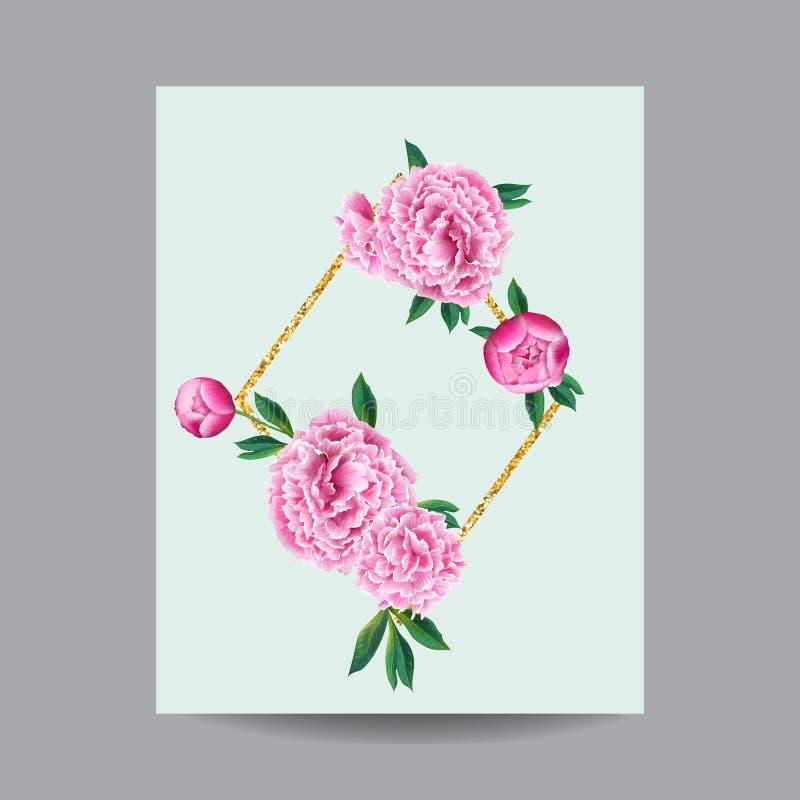 Download Blühender Frühlings Und Sommer Blumenrahmen Aquarell Rosa  Pfingstrosen Blumen Für Einladung