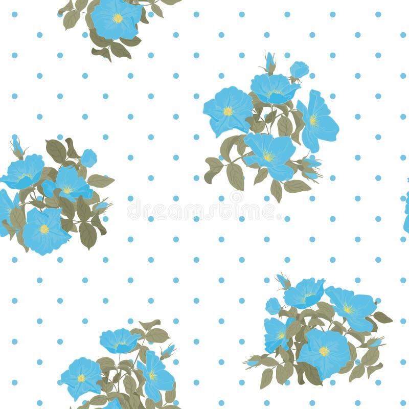 Blühendes nahtloses Muster der wilden Blumen mit Tupfen auf dem weißen Hintergrund in der Hand, der Art zeichnet Vektor lizenzfreie abbildung