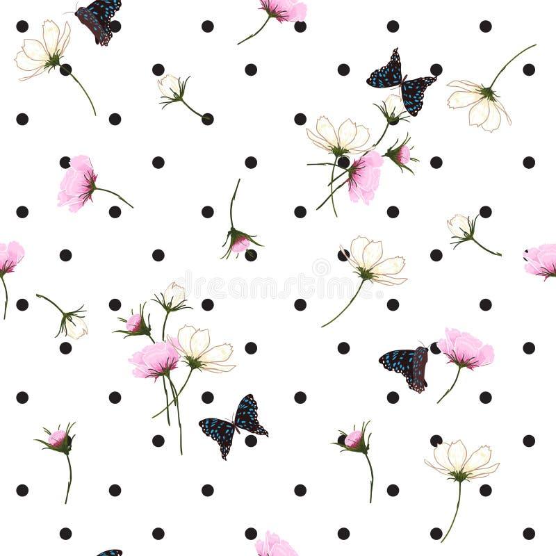 Blühendes nahtloses Muster der wilden Blumen mit Tupfen auf Weiß vektor abbildung