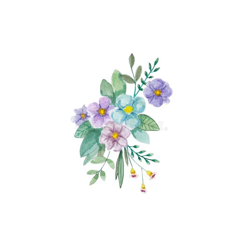 Blüht Aquarellillustration Manuelle Zusammensetzung Bemuttern Sie ` s Tag, Hochzeit, Geburtstag, Ostern, Valentinsgruß ` s Tag Al lizenzfreie abbildung