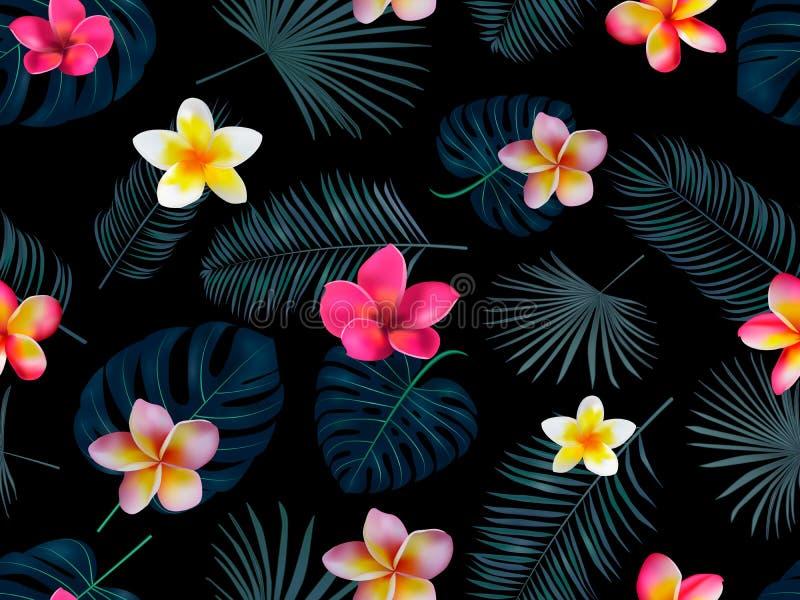 Blüht nahtlose Hand gezeichnetes tropisches Vektormuster mit Orchidee stock abbildung