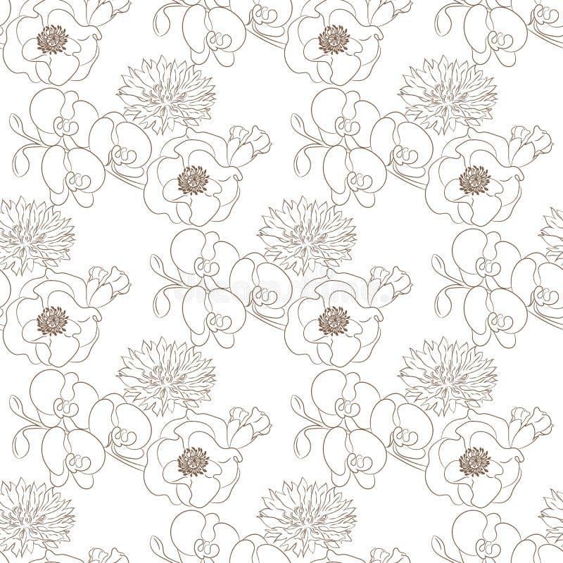 Blüht nahtloses Muster lizenzfreie abbildung
