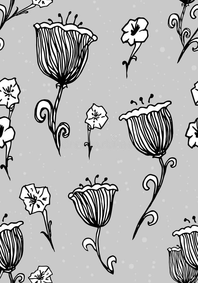 Blüht nahtloses Muster Mode-Tapete, Gewebedesign Gezeichnete Weinlese Tinte des Frühlinges Hand vektor abbildung