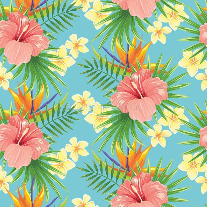 Blüht nahtloses Muster Stilvolle Frühlingsblume, tropische Betriebsblätter und dekorativer Fliesenvektormit blumenhintergrund stock abbildung